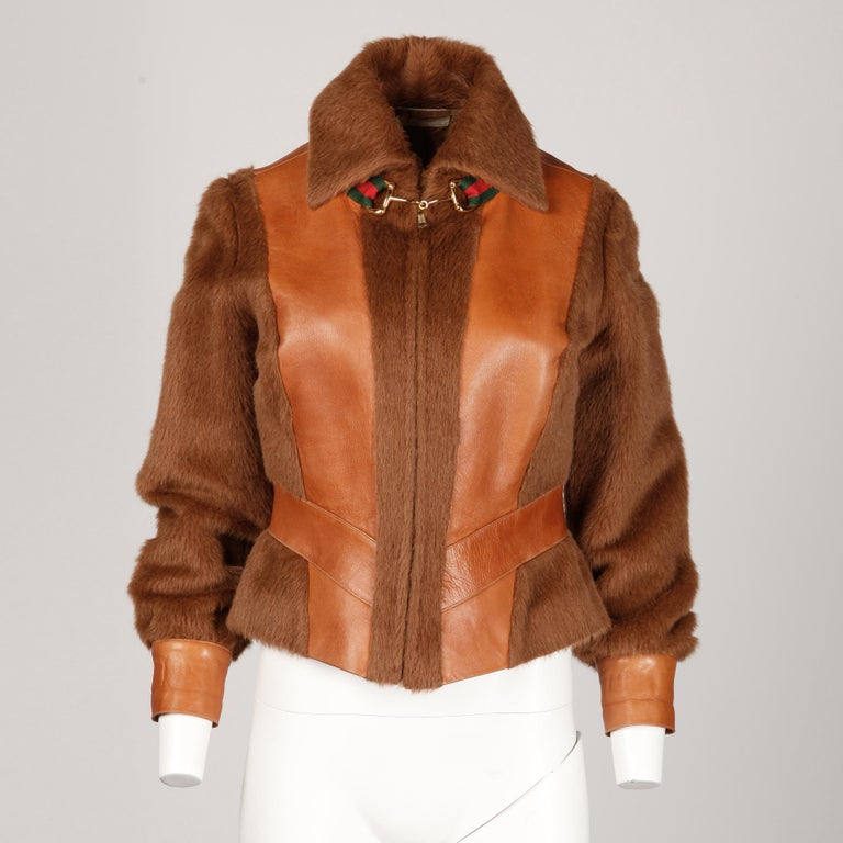 Women's Rare 1970s Vintage Gucci Leather + Mohair Jacket For Sale