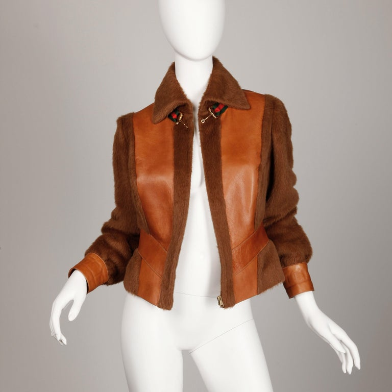Rare 1970s Vintage Gucci Leather + Mohair Jacket For Sale 2