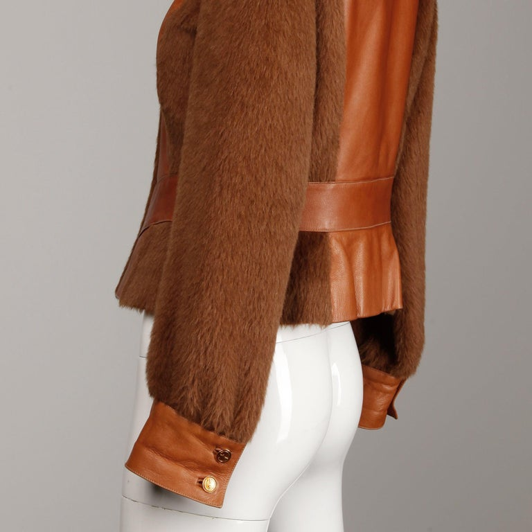 Rare 1970s Vintage Gucci Leather + Mohair Jacket For Sale 4