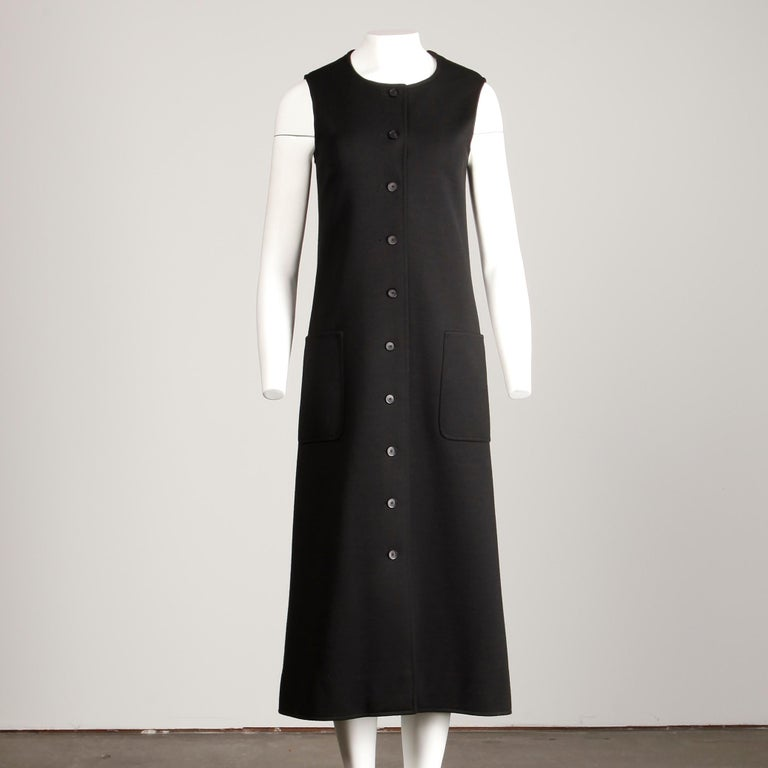Rare 1970s Yves Saint Laurent YSL Vintage Long Black Wool Maxi Vest or Dress In Excellent Condition For Sale In Sparks, NV