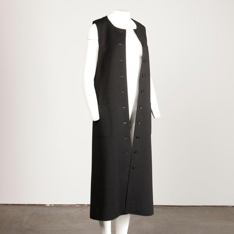 Women's Rare 1970s Yves Saint Laurent YSL Vintage Long Black Wool Maxi Vest or Dress For Sale