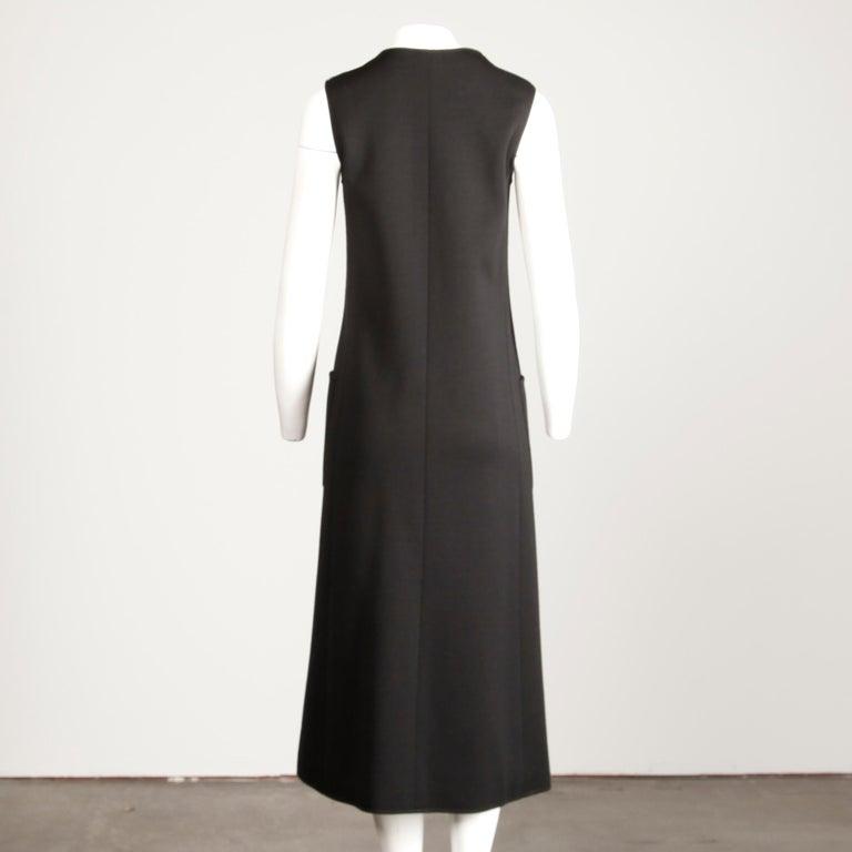 Rare 1970s Yves Saint Laurent YSL Vintage Long Black Wool Maxi Vest or Dress For Sale 2