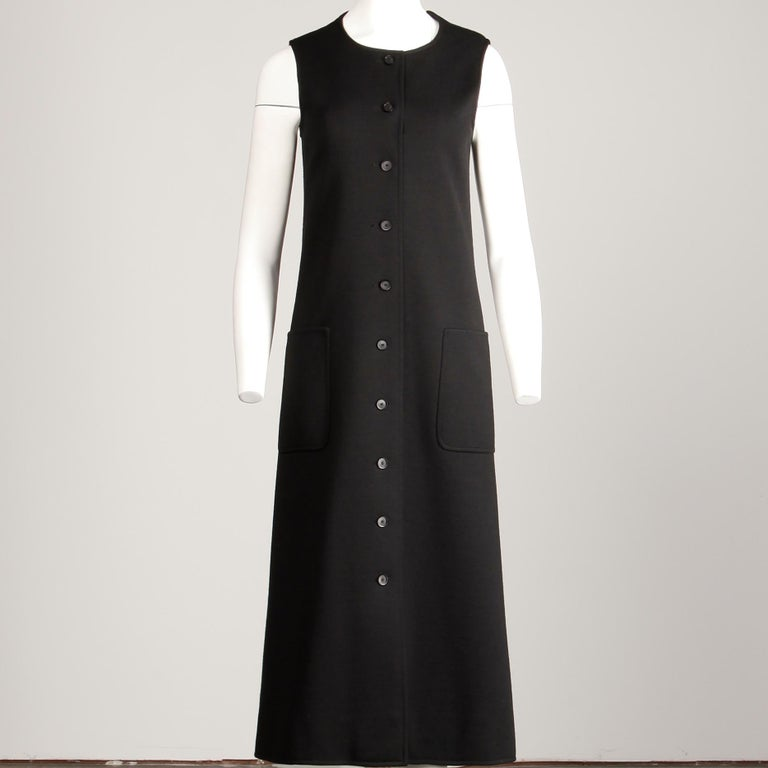 Rare 1970s Yves Saint Laurent YSL Vintage Long Black Wool Maxi Vest or Dress For Sale 3