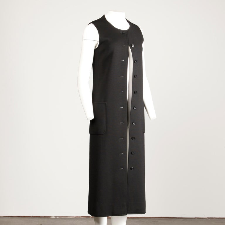 Rare 1970s Yves Saint Laurent YSL Vintage Long Black Wool Maxi Vest or Dress For Sale 4