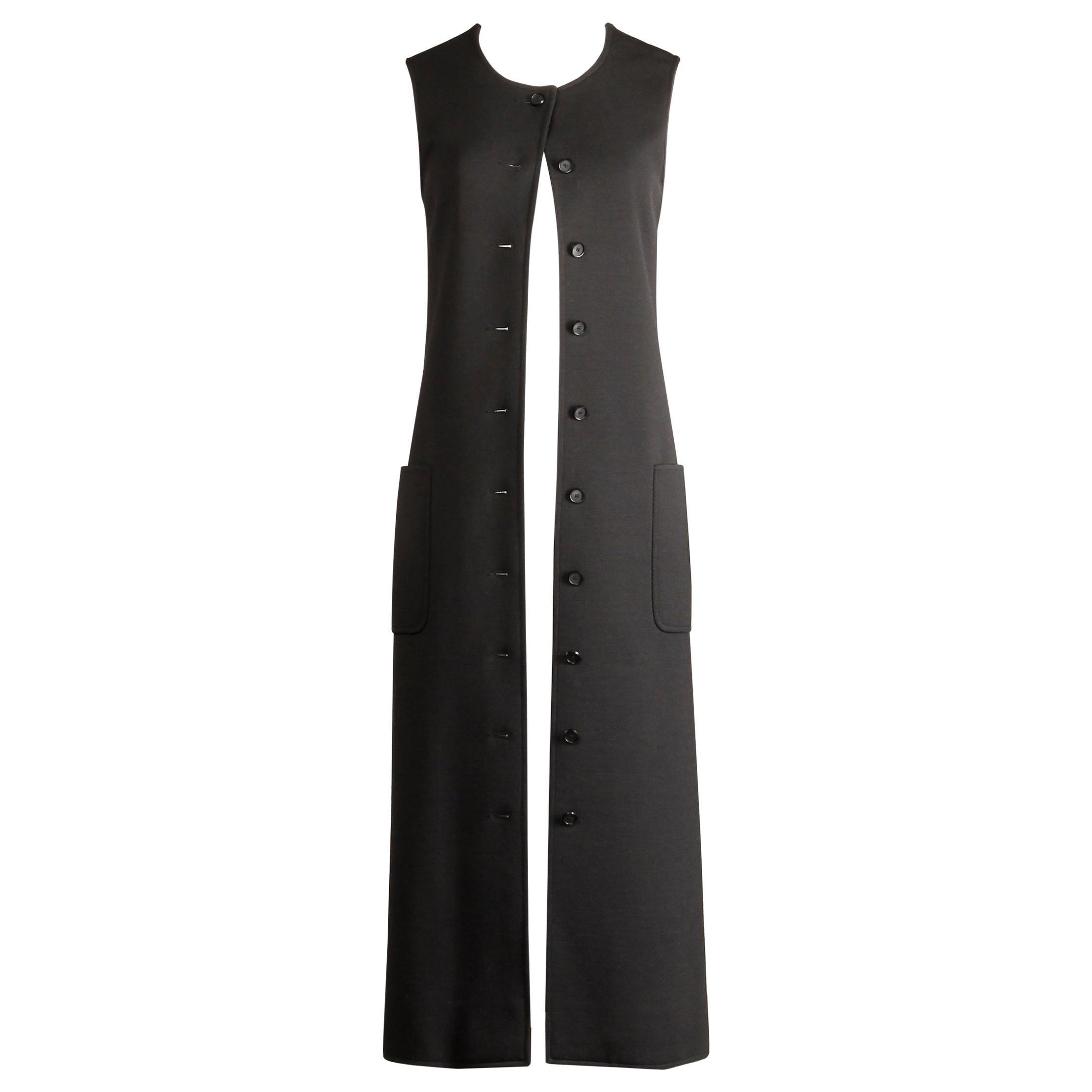 Rare 1970s Yves Saint Laurent YSL Vintage Long Black Wool Maxi Vest or Dress
