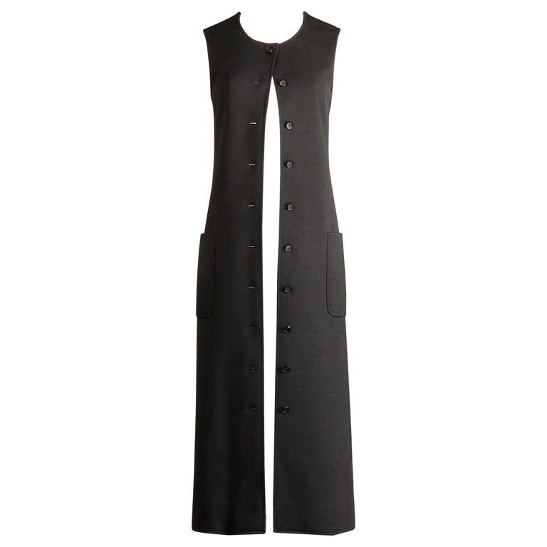 Rare 1970s Yves Saint Laurent YSL Vintage Long Black Wool Maxi Vest or Dress For Sale