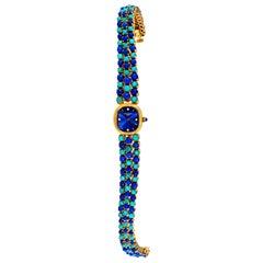 1971 Piece Unique Patek Philippe Lapis Turquoise Diamond Bracelet Watch