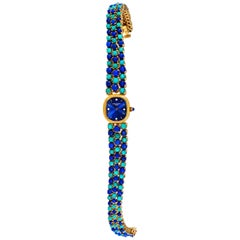 Rare 1971 Piece Unique Patek Philippe Lapis Turquoise Diamond Bracelet Watch