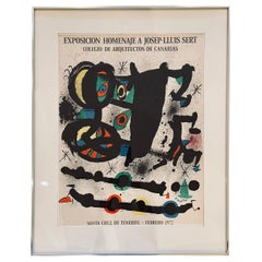 Rare 1972 Joan Miro Original Abstract Exposition Poster from Canarias Spain