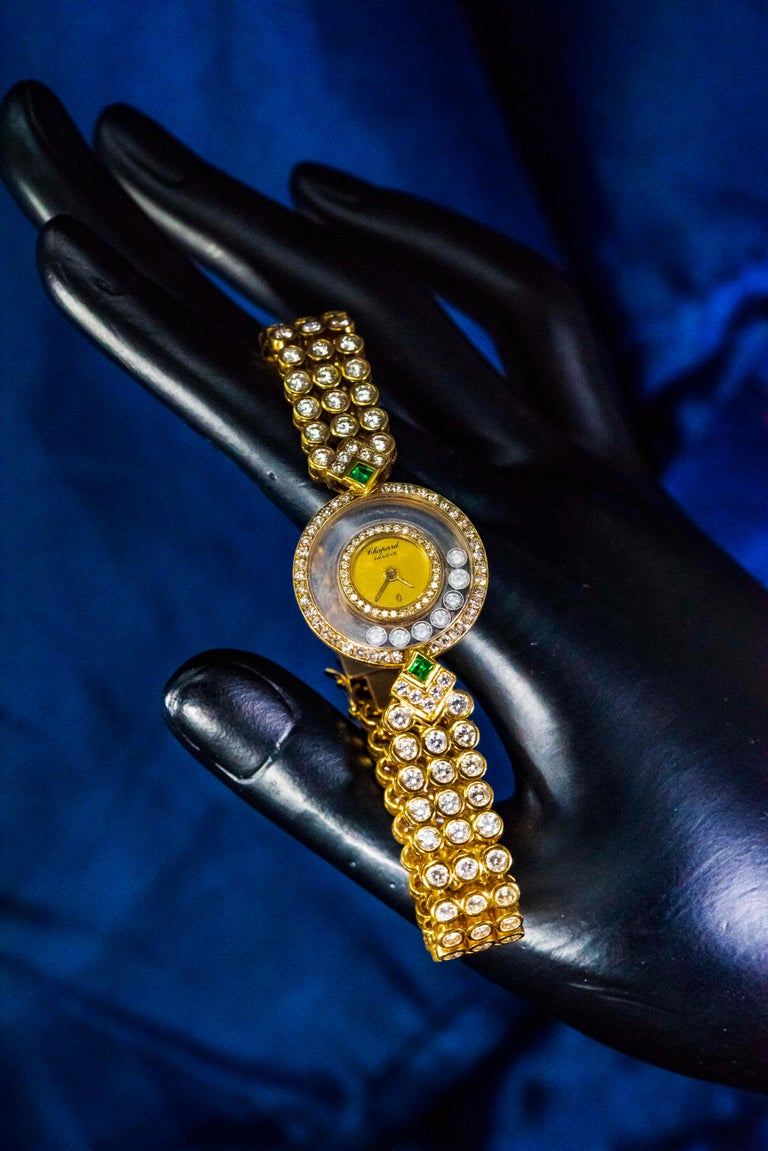 1980-90s Chopard Happy Diamond Emerald & Aprox 20Cts Diamond Bracelet Watch For Sale 5