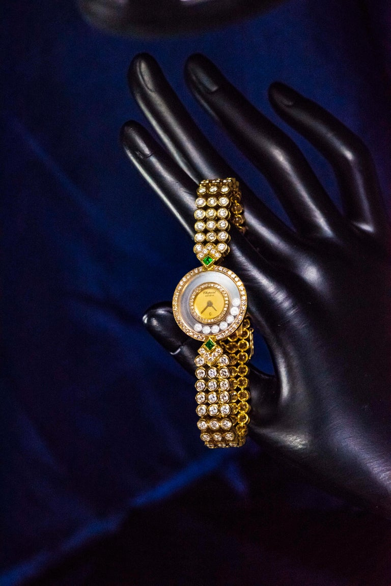 1980-90s Chopard Happy Diamond Emerald & Aprox 20Cts Diamond Bracelet Watch For Sale 6