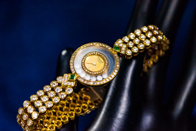 1980-90s Chopard Happy Diamond Emerald & Aprox 20Cts Diamond Bracelet Watch For Sale 10