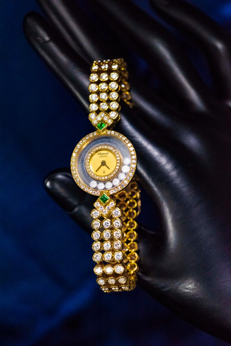 1980-90s Chopard Happy Diamond Emerald & Aprox 20Cts Diamond Bracelet Watch For Sale 11