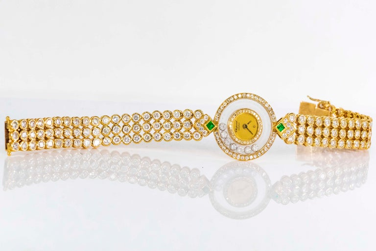 1980-90s Chopard Happy Diamond Emerald & Aprox 20Cts Diamond Bracelet Watch For Sale 12