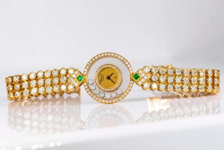 1980-90s Chopard Happy Diamond Emerald & Aprox 20Cts Diamond Bracelet Watch For Sale 13