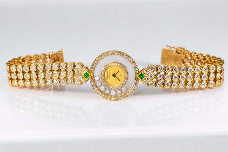 Round Cut 1980-90s Chopard Happy Diamond Emerald & Aprox 20Cts Diamond Bracelet Watch For Sale