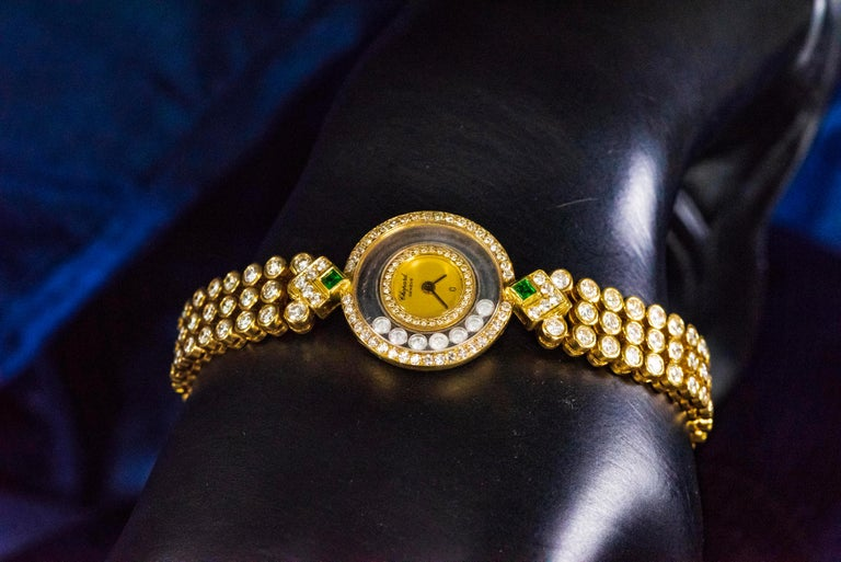 1980-90s Chopard Happy Diamond Emerald & Aprox 20Cts Diamond Bracelet Watch For Sale 2