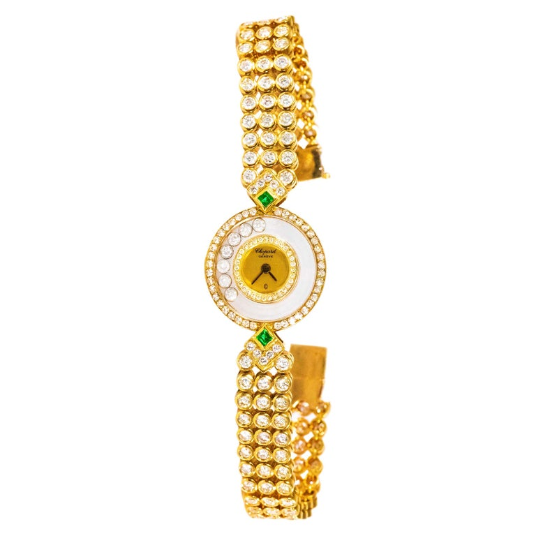 1980-90s Chopard Happy Diamond Emerald & Aprox 20Cts Diamond Bracelet Watch For Sale