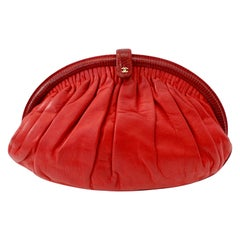 Rare 1980s Chanel Lipstick Red Lambskin Clutch with Chain