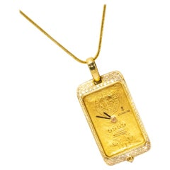 "Rare 1980s Corum Ingot ""Ubs 24Kt 10gram Gold Bar"" Motif Diamond Pendant Watch"