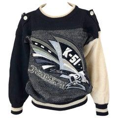 Rare 1980s Kansai Yamamoto Avant Garde Varsity Collegiate Wool Vintage Sweater