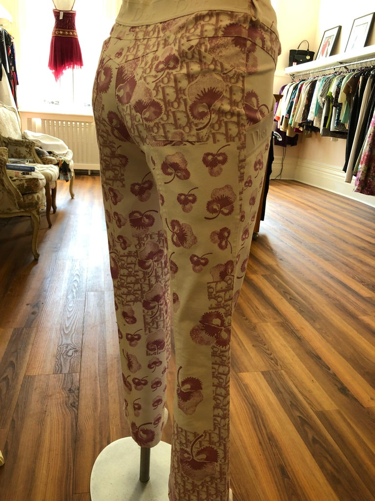 Women's Rare 1990s Christian Dior by John Galliano Trotter/Flower Print Pants (S) - (S+) For Sale