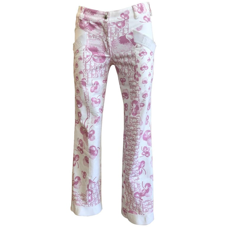 Rare 1990s Christian Dior by John Galliano Trotter/Flower Print Pants (S) - (S+) For Sale