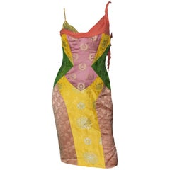 Rare 1990s Gianni Versace Couture Colorblock Jacquard Lace Silk & Lace up Dress