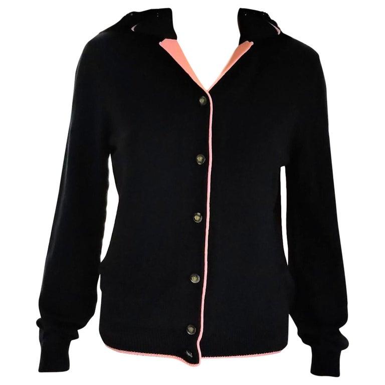 Rare 1990's Gianni Versace Medusa Black & Coral Sweater Cardigan IT 42/ US 4 6 For Sale