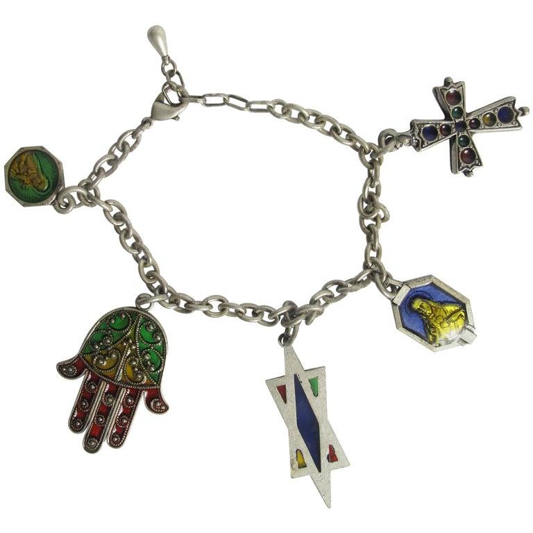 Rare 1990s Jean Paul Gaultier Charm Bracelet For Sale