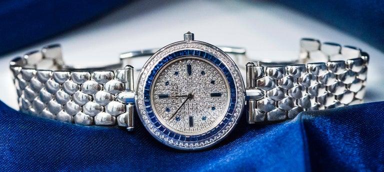 1990s Van Cleef Arpels 18k Gold Pave Diamond Dial & Sapphire Bracelet Watch For Sale 4