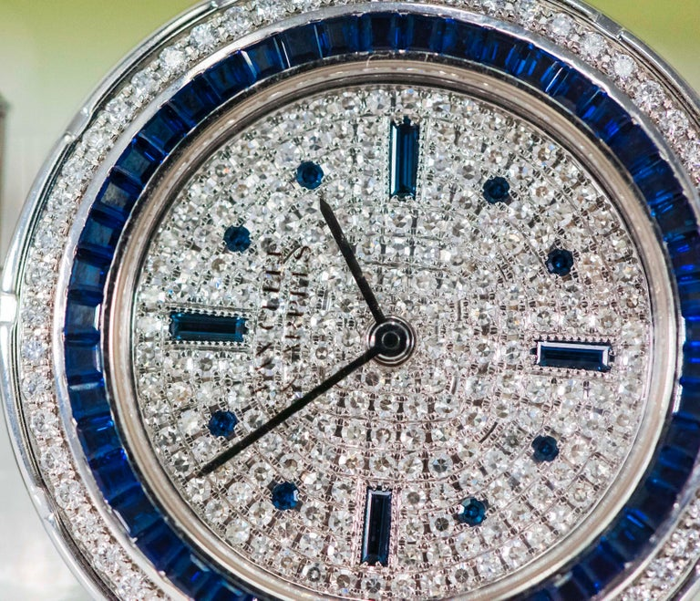 1990s Van Cleef Arpels 18k Gold Pave Diamond Dial & Sapphire Bracelet Watch For Sale 5
