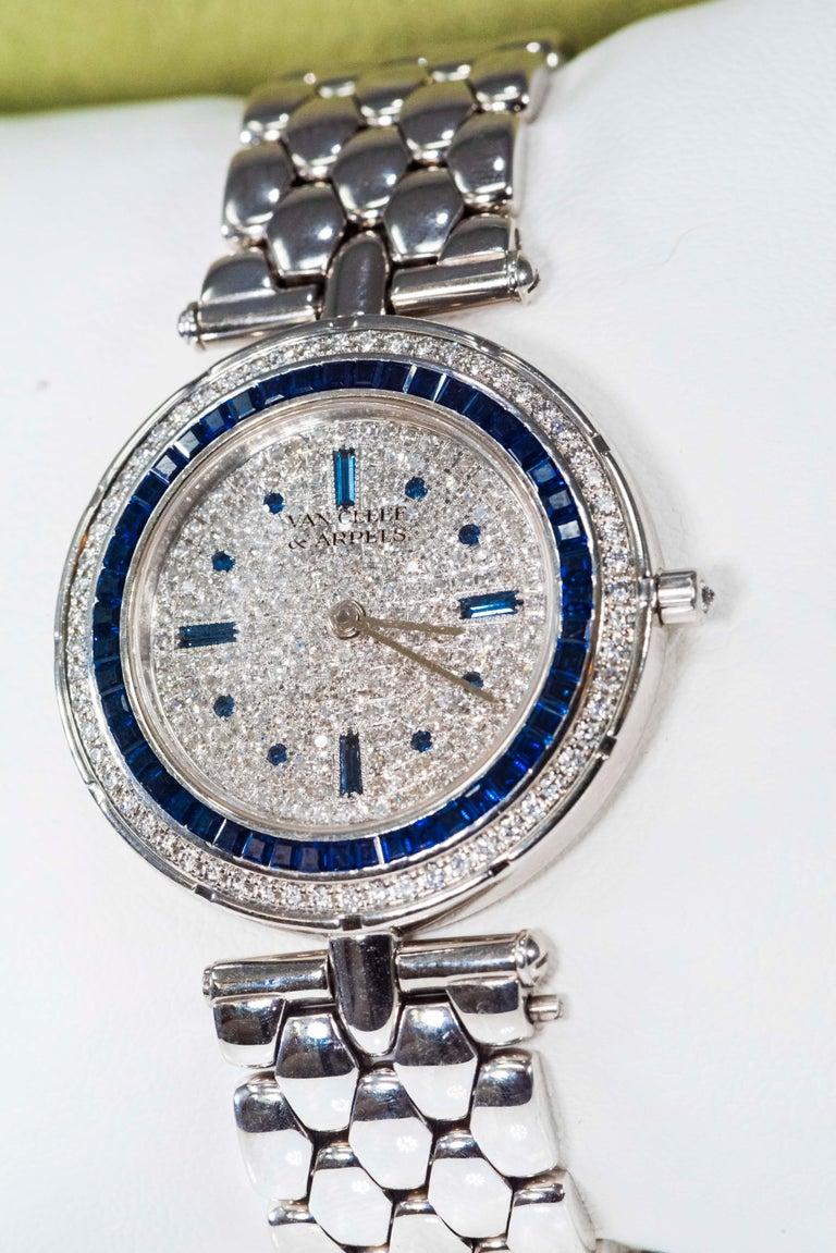 1990s Van Cleef Arpels 18k Gold Pave Diamond Dial & Sapphire Bracelet Watch For Sale 6
