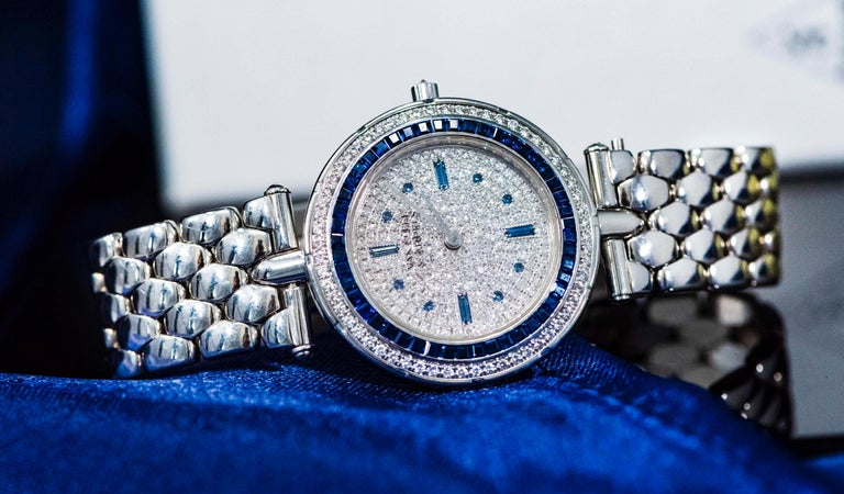1990s Van Cleef Arpels 18k Gold Pave Diamond Dial & Sapphire Bracelet Watch For Sale 7