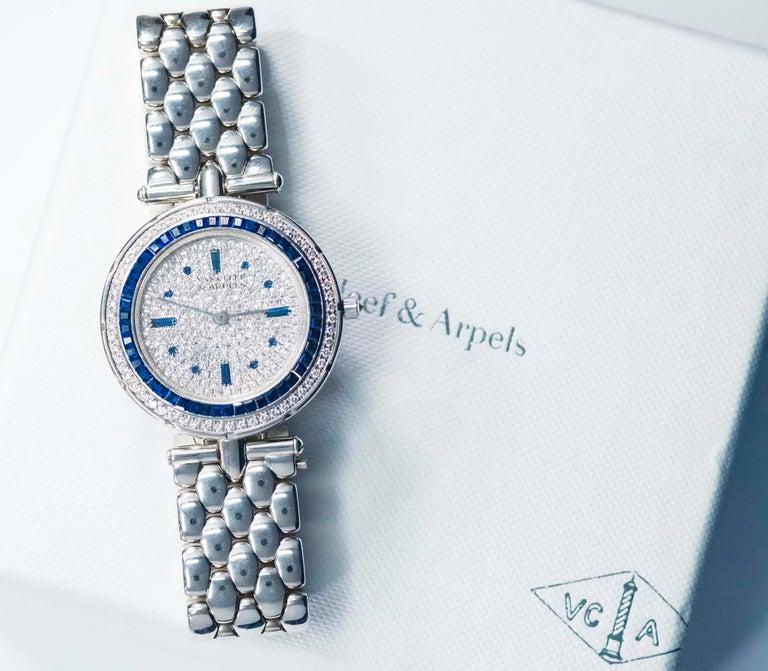 1990s Van Cleef Arpels 18k Gold Pave Diamond Dial & Sapphire Bracelet Watch For Sale 8
