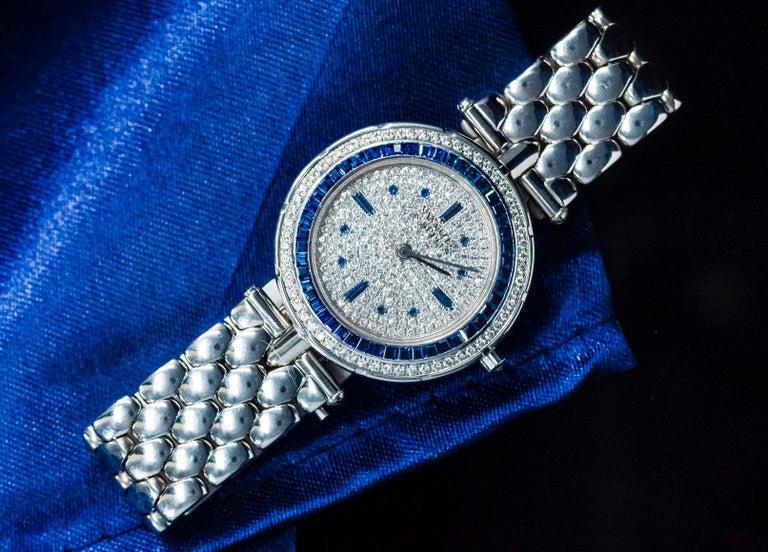 1990s Van Cleef Arpels 18k Gold Pave Diamond Dial & Sapphire Bracelet Watch For Sale 9