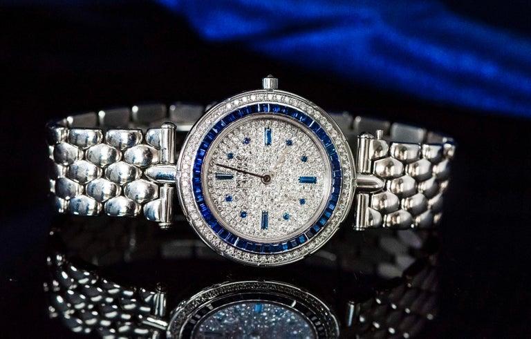 1990s Van Cleef Arpels 18k Gold Pave Diamond Dial & Sapphire Bracelet Watch For Sale 10