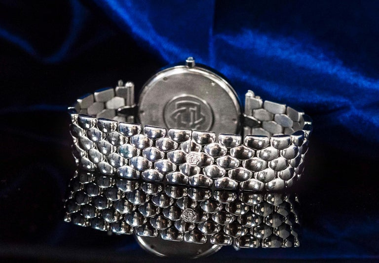 1990s Van Cleef Arpels 18k Gold Pave Diamond Dial & Sapphire Bracelet Watch For Sale 11