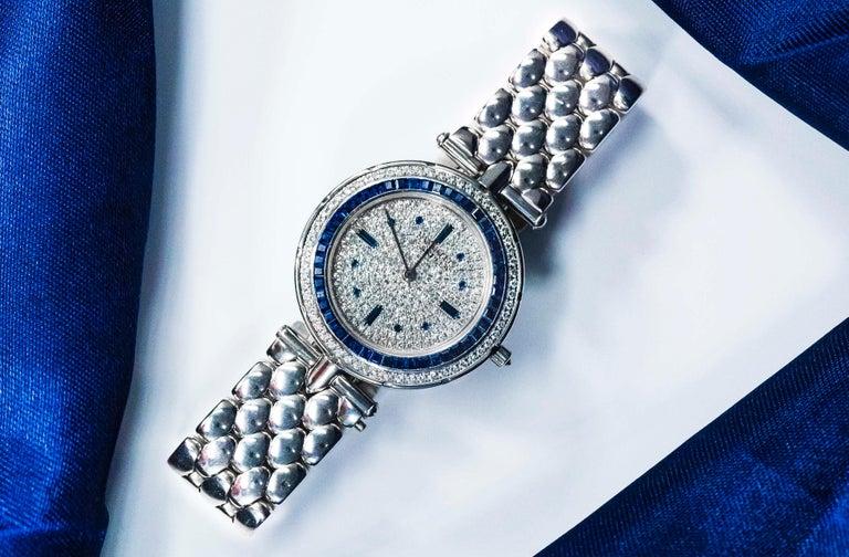 1990s Van Cleef Arpels 18k Gold Pave Diamond Dial & Sapphire Bracelet Watch For Sale 12