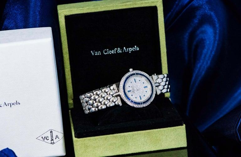 Round Cut 1990s Van Cleef Arpels 18k Gold Pave Diamond Dial & Sapphire Bracelet Watch For Sale