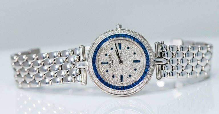 1990s Van Cleef Arpels 18k Gold Pave Diamond Dial & Sapphire Bracelet Watch In Excellent Condition For Sale In New york, NY