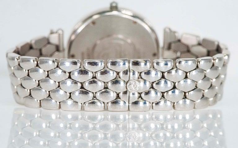 Women's or Men's 1990s Van Cleef Arpels 18k Gold Pave Diamond Dial & Sapphire Bracelet Watch For Sale