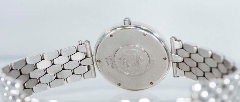 1990s Van Cleef Arpels 18k Gold Pave Diamond Dial & Sapphire Bracelet Watch For Sale 1