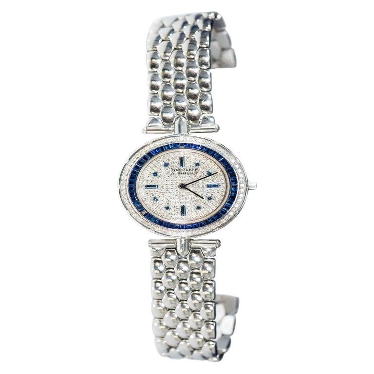 1990s Van Cleef Arpels 18k Gold Pave Diamond Dial & Sapphire Bracelet Watch For Sale