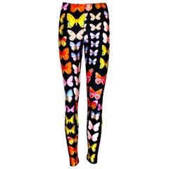 Rare 1990s Vintage Gianni Versace Butterfly Print Leggings Pants