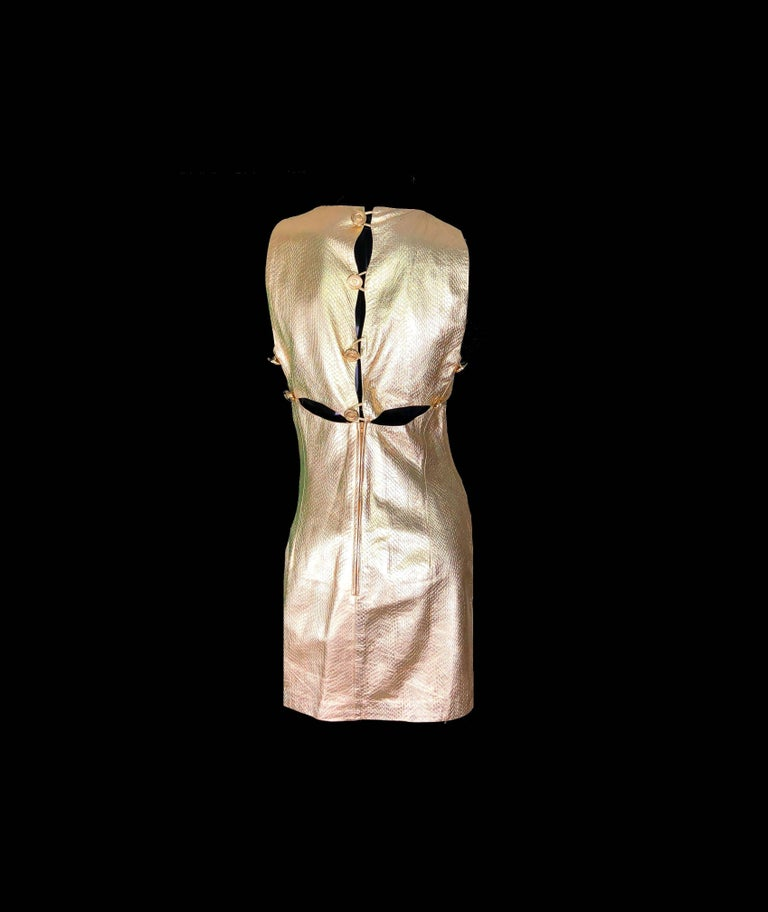 Pink Gianni Versace Medusa Metallic Golden Leather Dress Museum Piece, 1994  For Sale