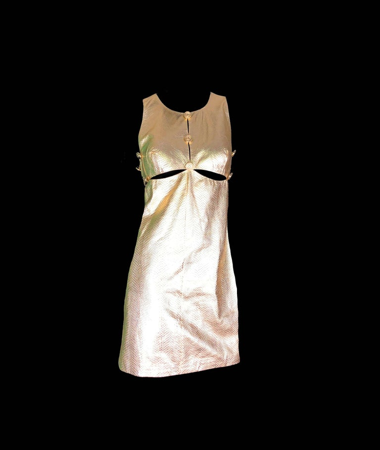 Gianni Versace Medusa Metallic Golden Leather Dress Museum Piece, 1994  In Excellent Condition For Sale In Switzerland, CH