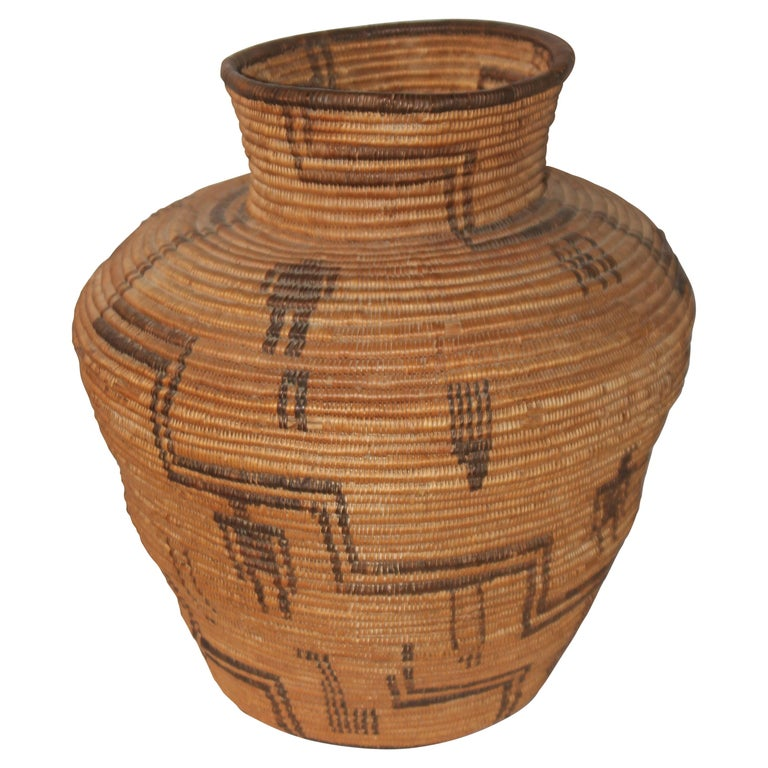 Rare 19th C Apache Indian Pictorial Basket Olla For Sale