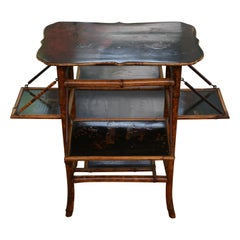 Rare 19th Century English Bamboo Table with Four Trays