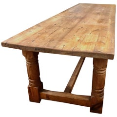 Rare 19th Century English Unusually Long Pine Farmhouse Table